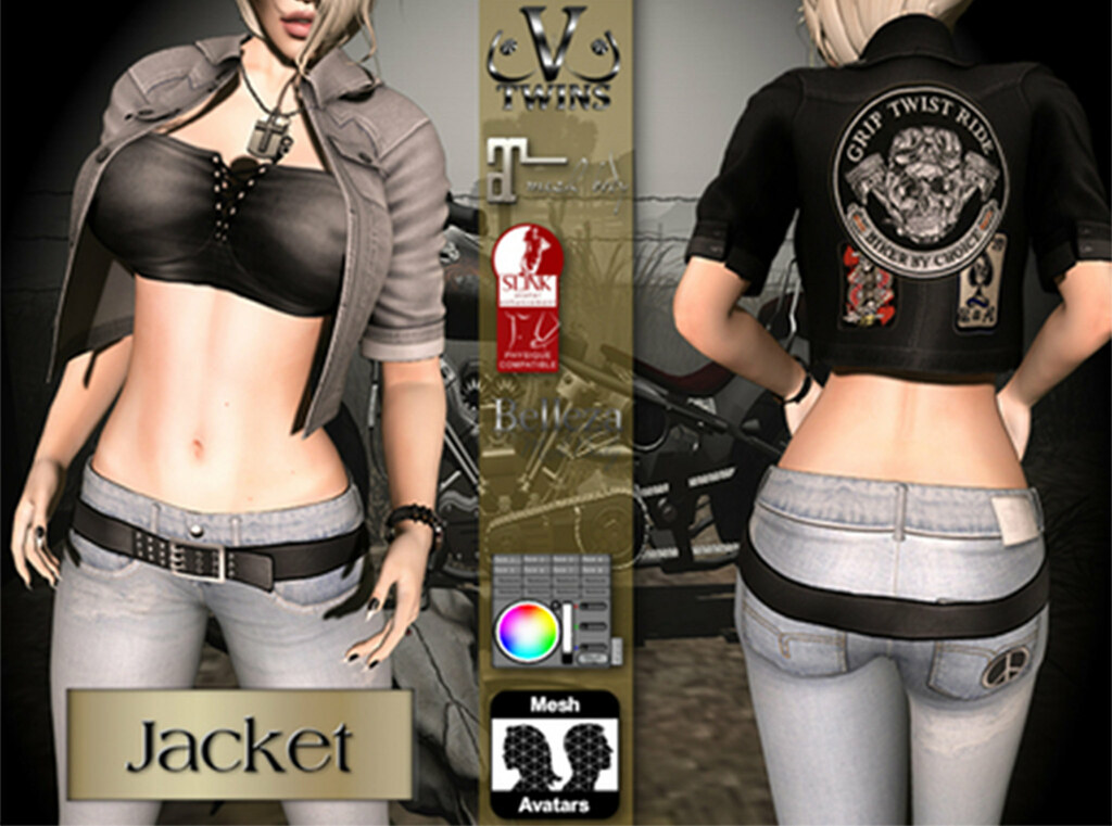 V-Twins Biker Clothes - Individual Items Mesh Jacket - Crossfire Collection (Slink Belleza & Maitreya) - TeleportHub.com Live!