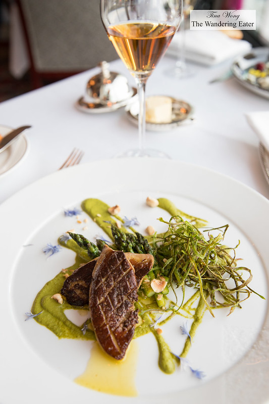 Seared foie gras piccata, asparagus and hazelnut vinaigrette paired with a glass of 1988 Chateau d'Yquem Sauternes. (Needless to say the wine is the star here.)