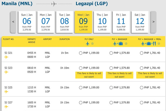Cebu Pacific Pay Day Fly Day Sale Manila to Legapzi