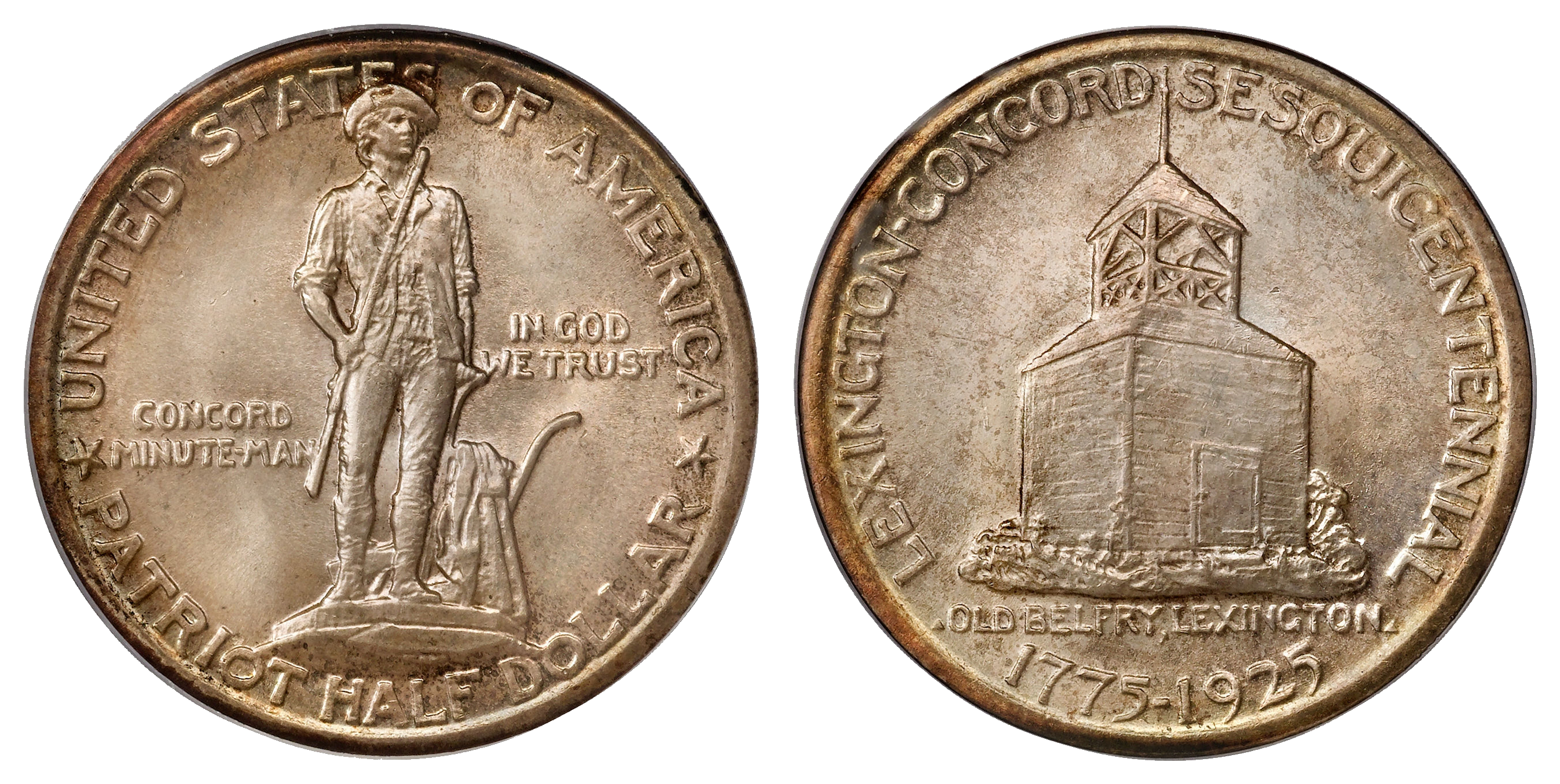United States 1925 half-dollar commemorative coin for the 150th anniversary of the Battles of Lexington and Concord.