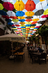 Umbrella street restaurant, Cyprus