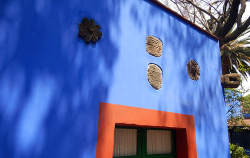 Pre-hispanic art decorates the artist Frida Kahlo's 'Casa Azul', the cobalt blue house in Coyoacán, Mexico