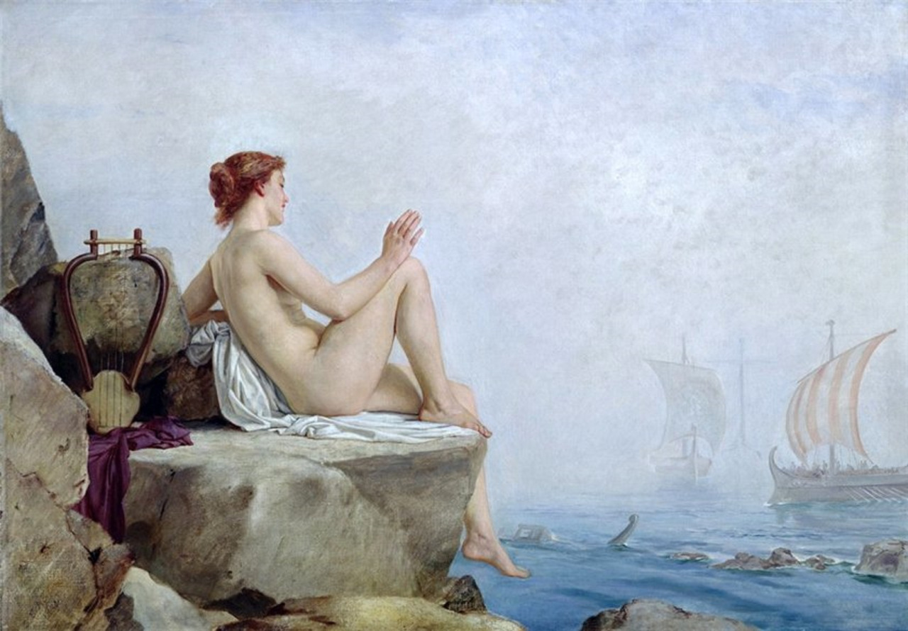 The Siren, oil on canvas by Edward Armitage, 1888. Currently in the collection of Leeds Art Gallery, Leeds, England. Photo taken on April 19, 2009.