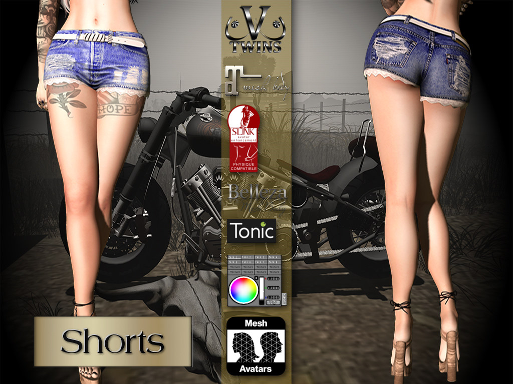 V-Twins Biker Clothes – Individual Items Mesh Shorts – Snazzy Collection (Slink Belleza & Maitreya)