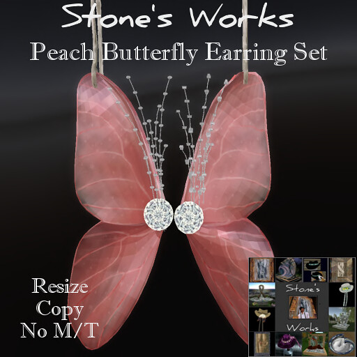 Butterfly Earring Set Peach Stone's Works