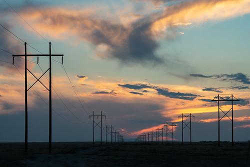 goldenhour electricity powerlines nikonafnikkor80200mmf28d nikond800 co colorado sunset landscape pueblowest