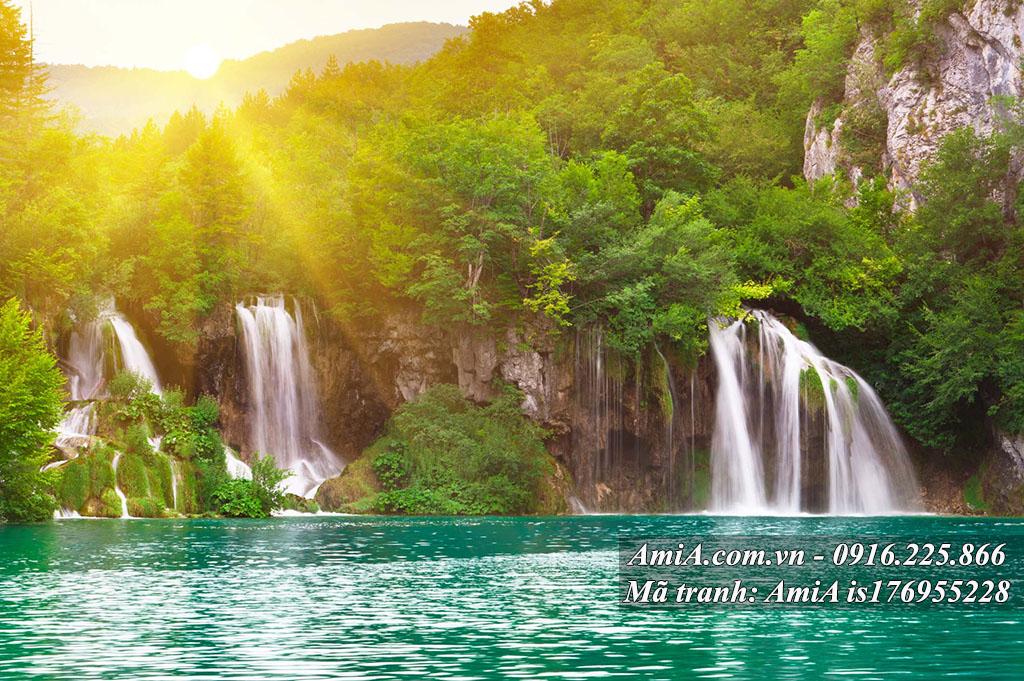 Tranh phong cảnh thiên nhiên hình ảnh thác nước đẹp