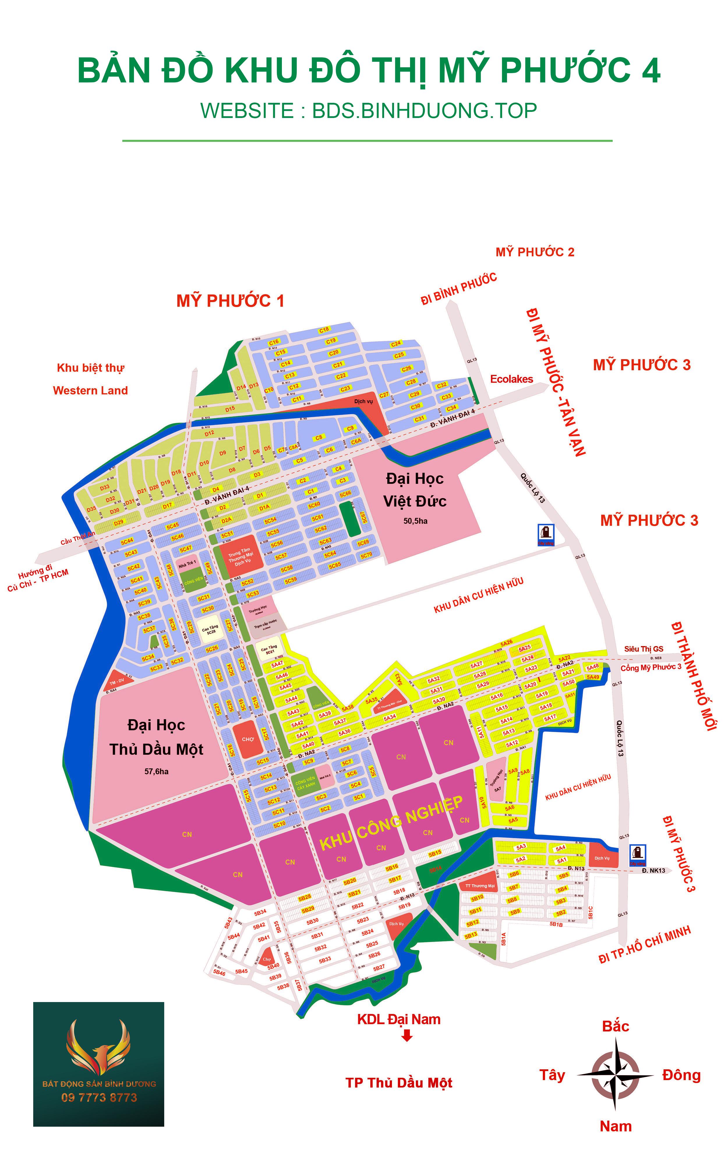 Bản đồ tổng thể Mỹ Phước 4 (Phường Thới Hòa, Thị xã Bến Cát)