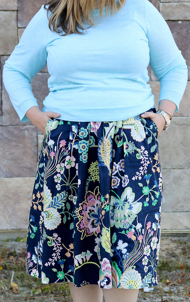 floral cotton midi skirt, aqua tippi, nude wedge sandals 2