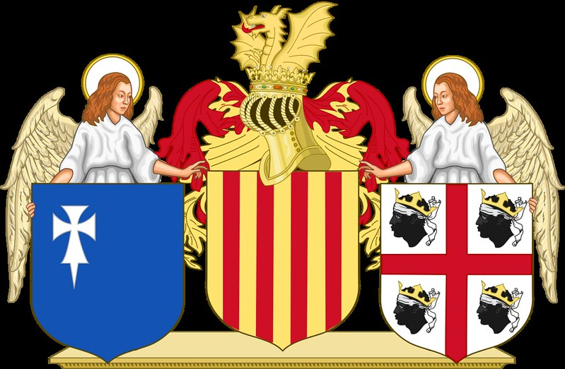 Coat of arms of the Kingdom of Aragon with angels as supporters