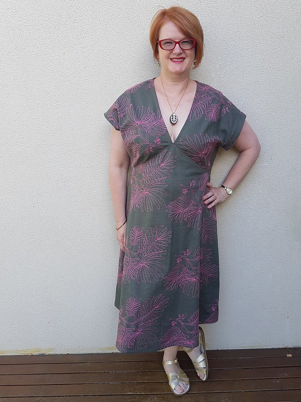 Style Arc Lois dress in embroidered linen from Rathdowne Fabrics