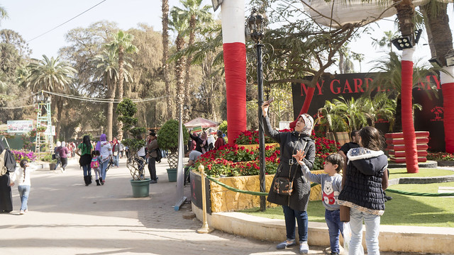 A mother Selfie at Egypt's Spring Flowers Fair 2018
