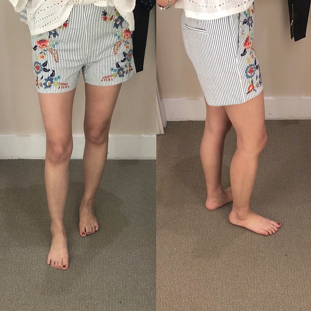 LOFT Floral Embroidered Riviera Shorts, size 00P