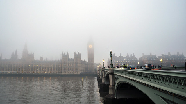 Westminster and bridge in a thick fog
