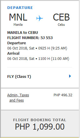 Cebu Pacific Sale Manila to Cebu October 2, 2018