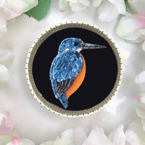 Erstwilder Royal Reeler Kingfisher Brooch