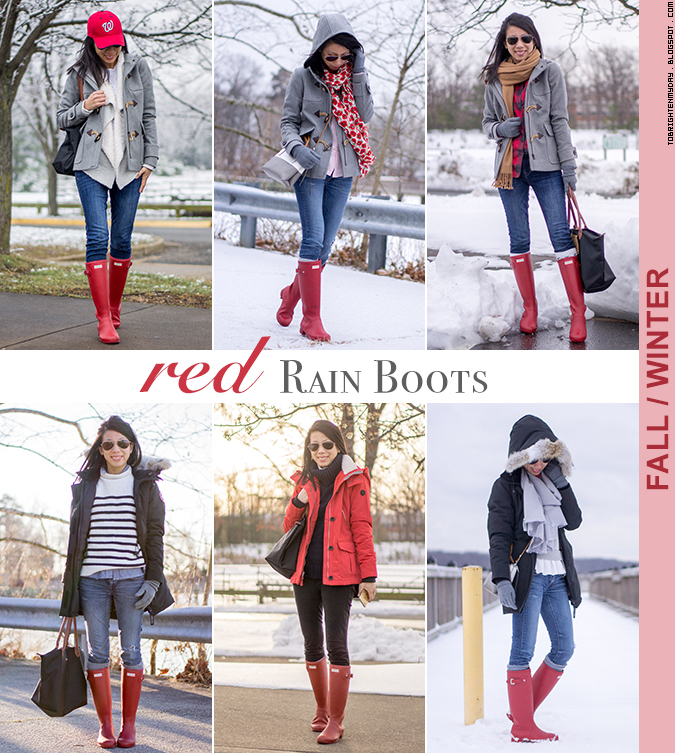 6 ways to wear red rain boots - fall/winter edition