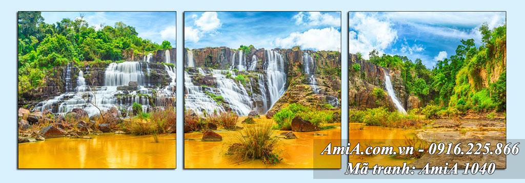AmiA 1040 - tranh thác nước bộ 3 tấm đẹp hiện đại ở Cao Bằng Việt Nam