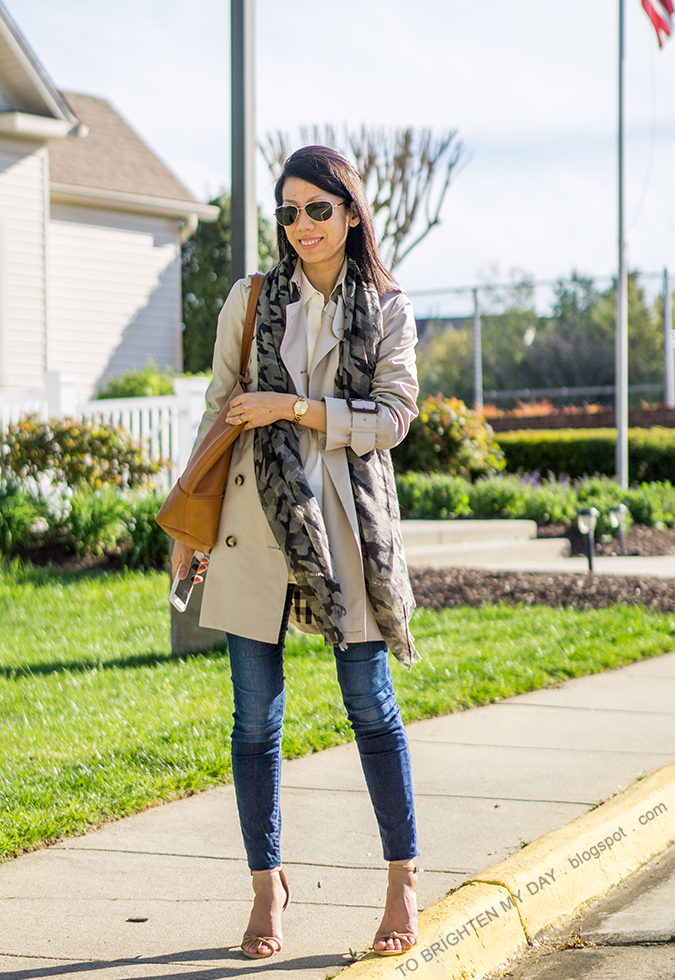 camo printed scarf, trench coat, gold watch, white silk blouse, skinny jeans, cognac brown tote, brown suede heels with knot