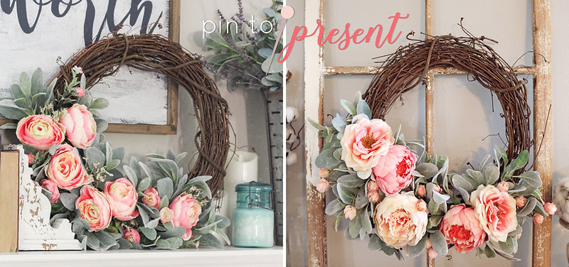 pin to present peony and rose wreath pin to present