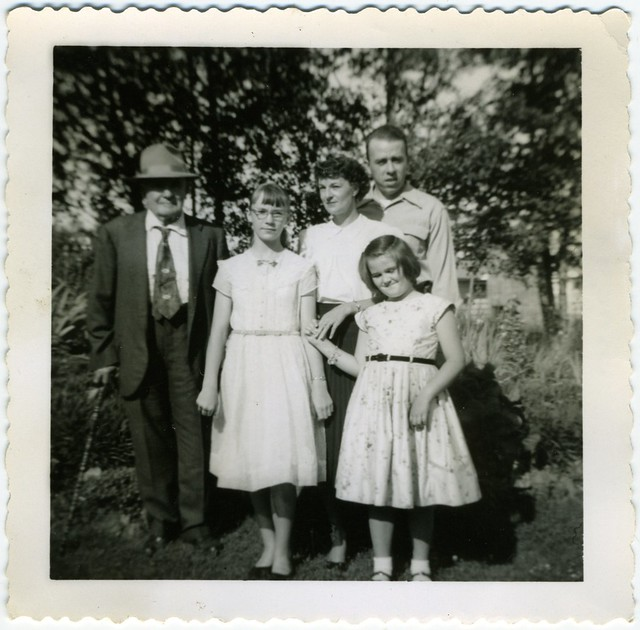 Diane and Evelyn with their parents and Grandpa Francis