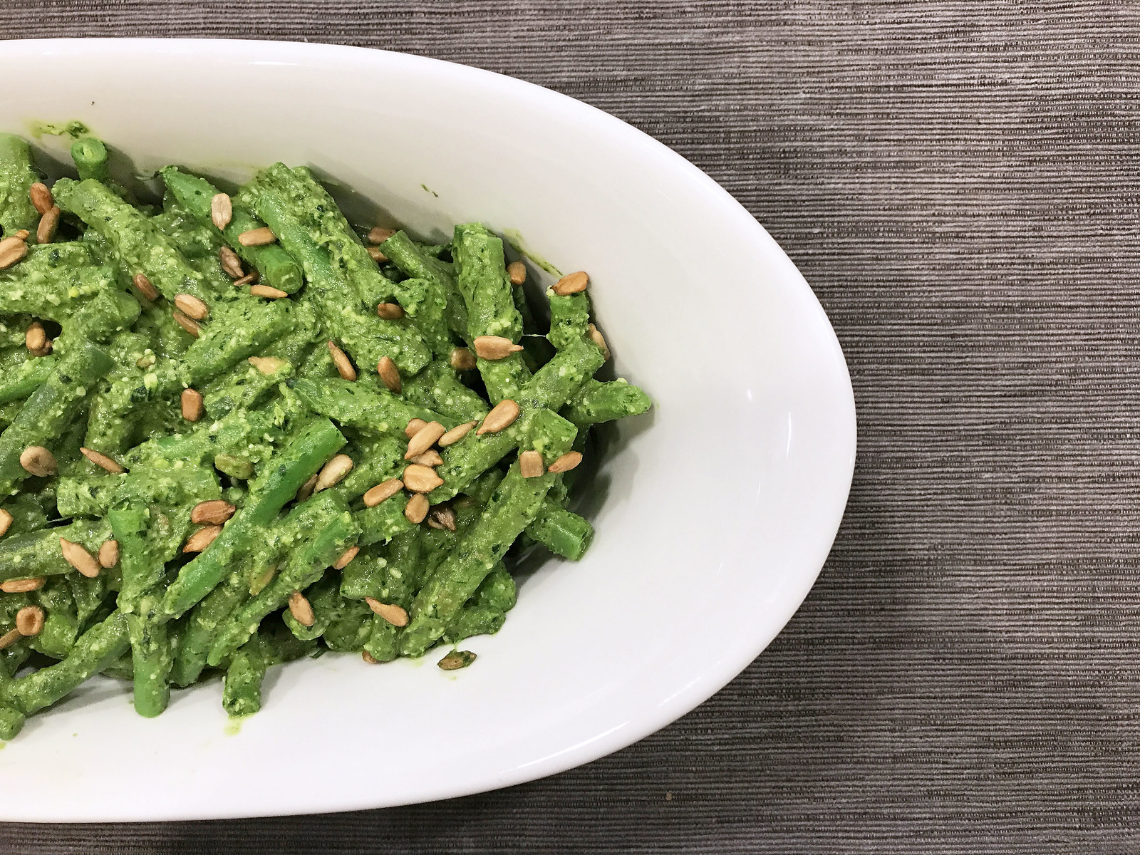Green beans with anchovy-Parmesan dressing