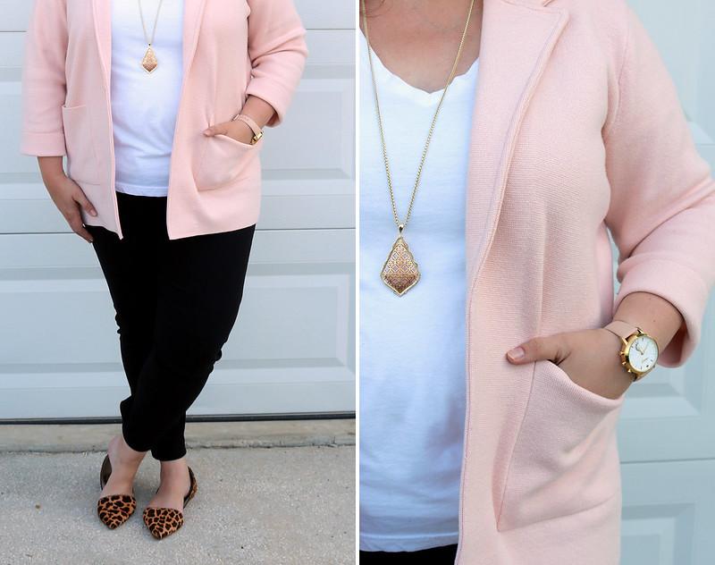 blush sweater cardigan, white tee, black pencil pants, leopard flats 5