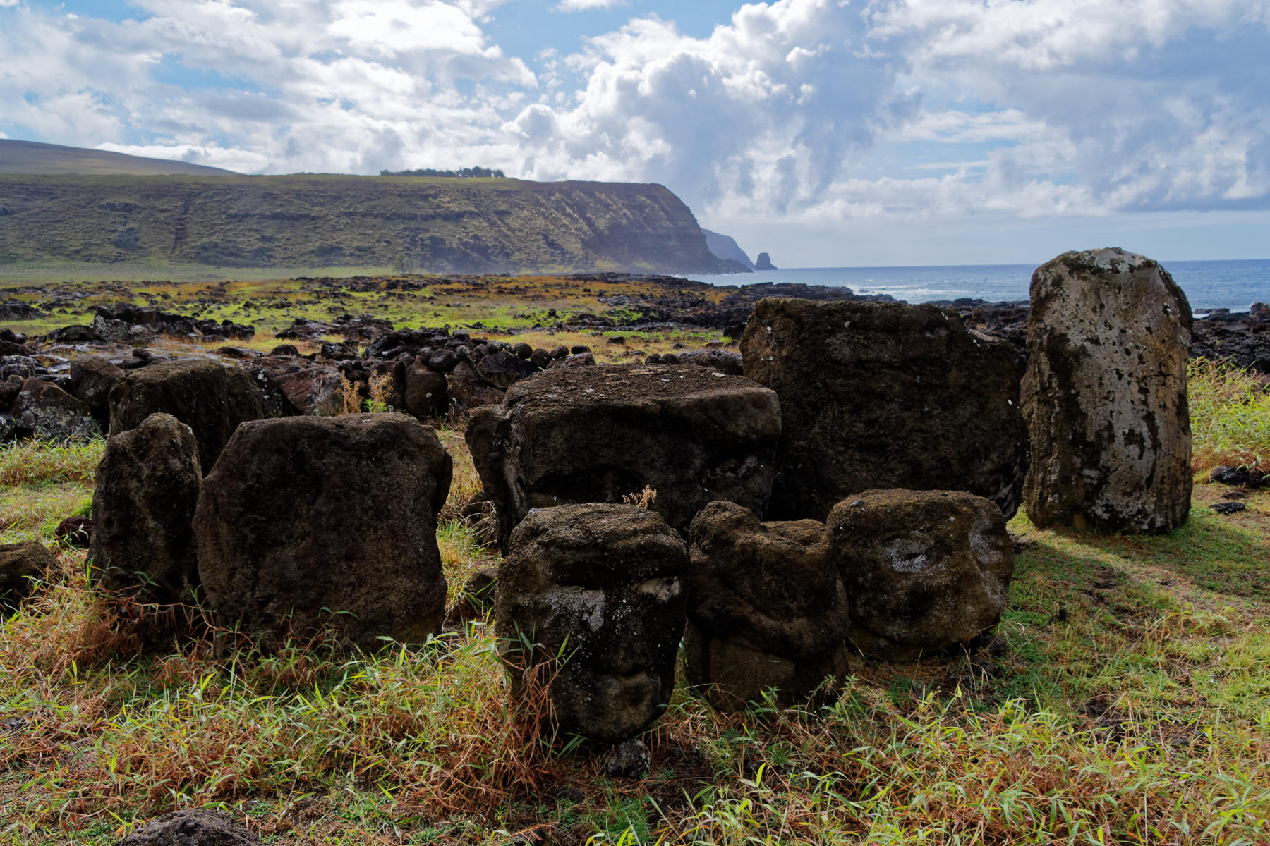 Discarded and replace heads at Ahu Tongariki