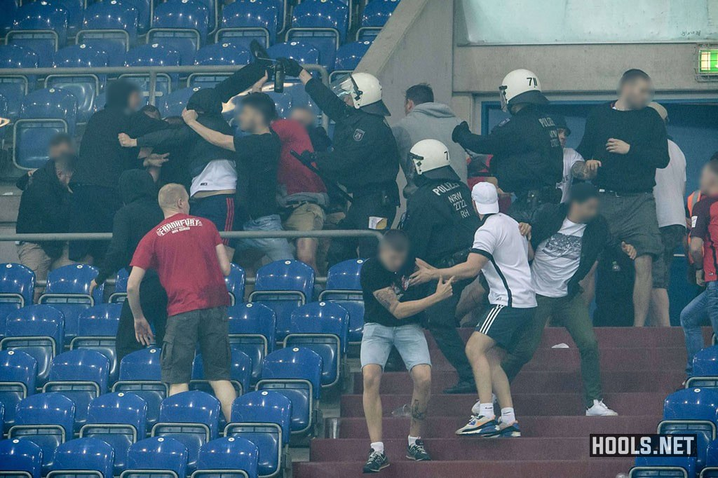 Schalke and Eintracht Frankfurt hooligans clash at the end of the Cup semi-final