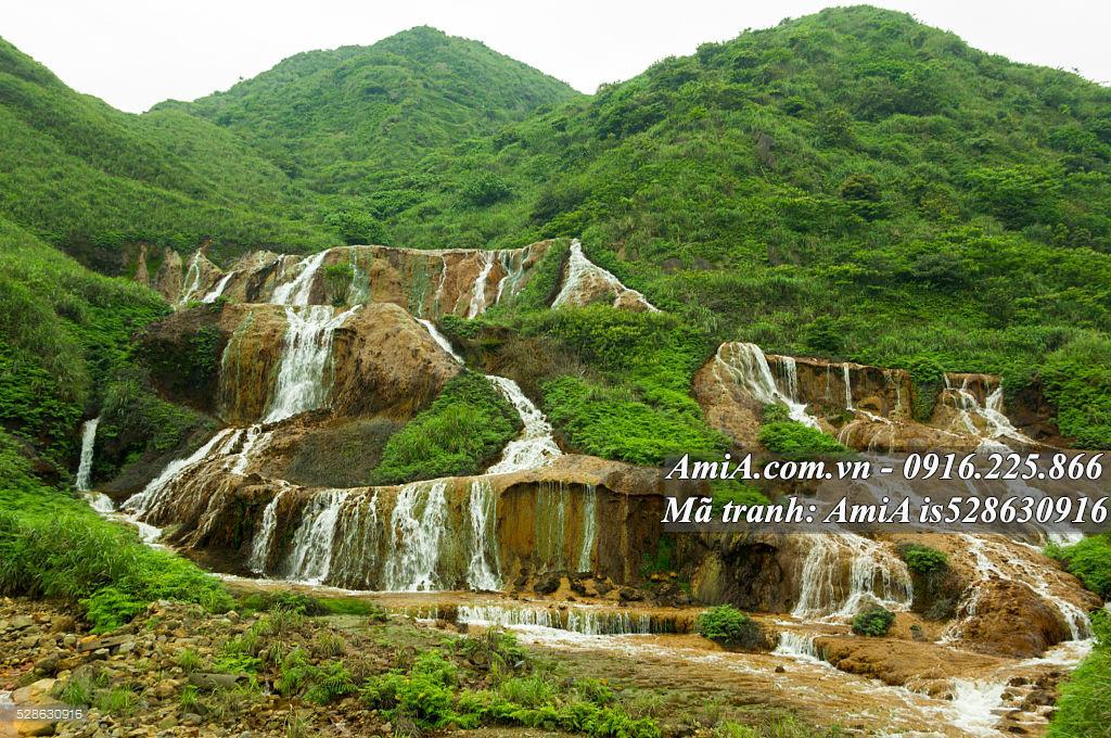 Tranh treo tường phong cảnh đẹp thác nước đồi núi