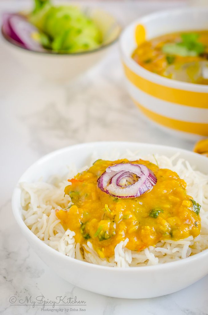 A bowl of rice with delicious instant pot dal tadka.