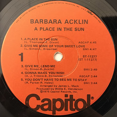 BARBARA ACKLIN:A PLACE IN THE SUN(LABEL SIDE-A)