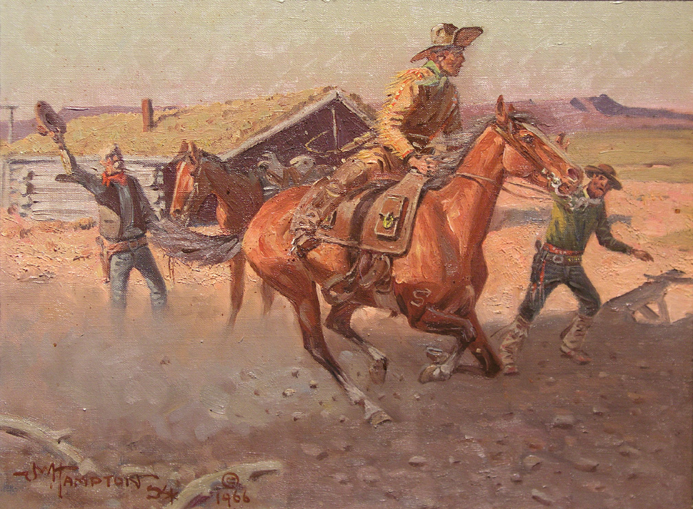 Changing riders at a Pony Express station.