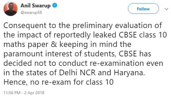 CBSE Class 10th Maths Retest will not be Conducted
