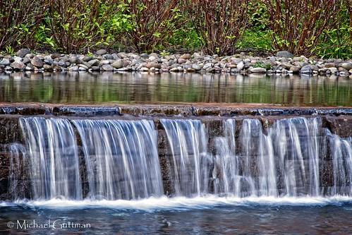 waterfall pool pond water riverbendhospital springfield oregon shrubs rocks
