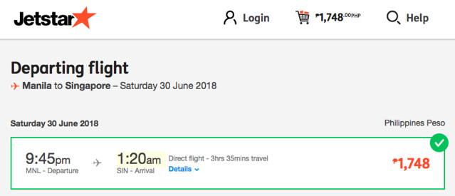 Manila to Singapore Jetstar Promo June 30, 2018
