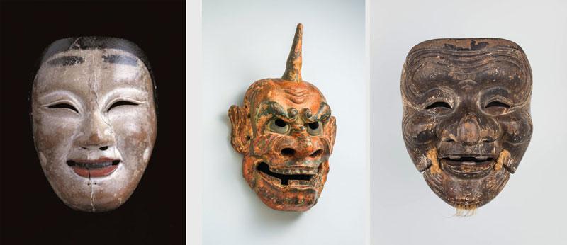 左)重要文化財《若女》(鎌倉時代、岩手・中尊寺、4月10日~5月6日展示) 中)《追儺》(桃山時代、滋賀・石山寺、5月8日~展示) 右)《翁》(鎌倉時代、個人蔵、~4月8日展示)
