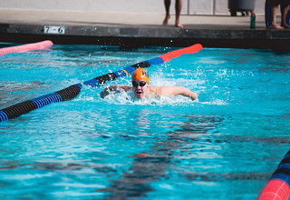 Swimmer in Haldeman Pool, November 19, 2016.