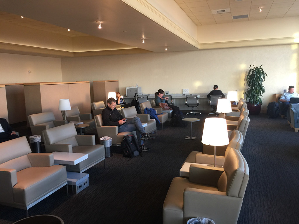 United Business Class Lounge seating at SFO