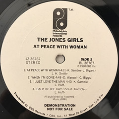 THE JONES GIRLS:AT PEACE WITH WOMAN(LABEL SIDE-B)
