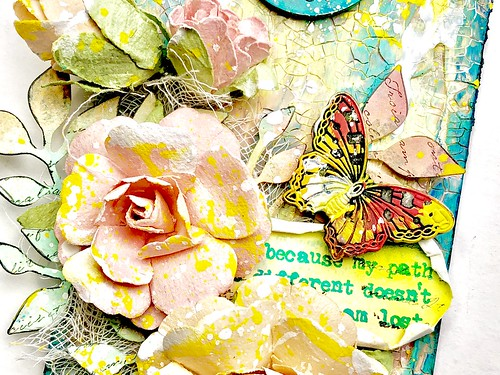 Meihsia Liu Simply Paper Crafts Mixed Media Tag Flower Power Simon Says Stamp Tim Holtz Prima Flowers 5