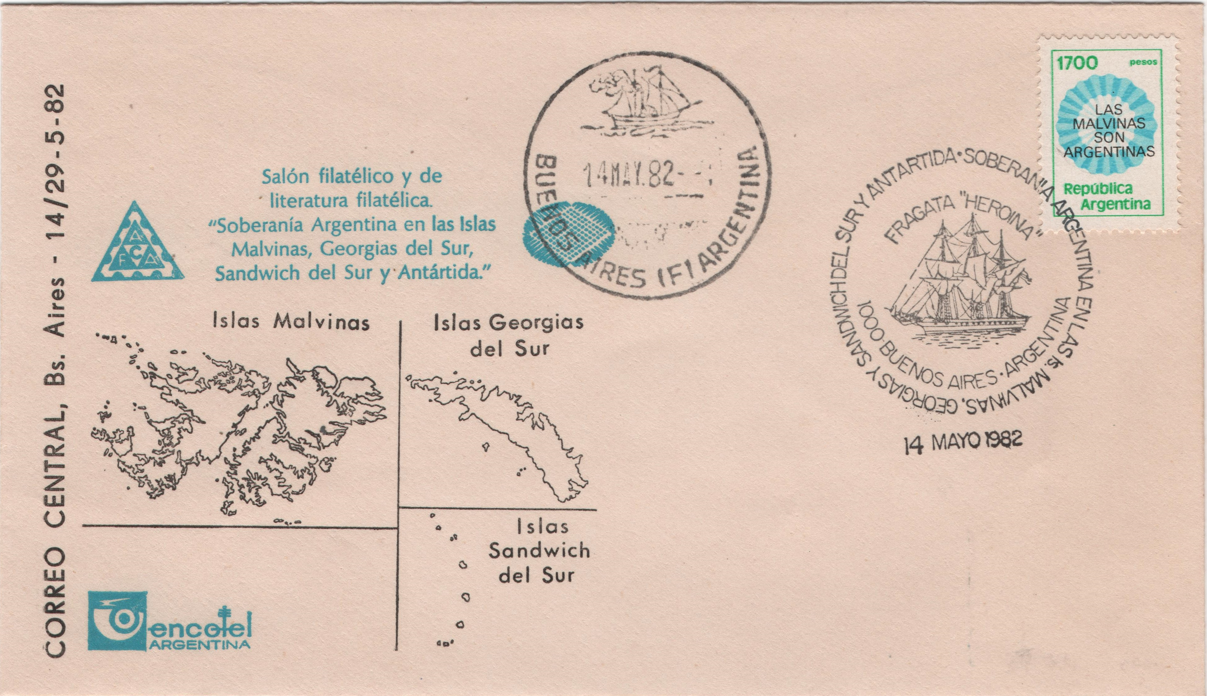 Argentina - Scott @1338 (1982) on unaddressed cover from an philatelic exhibition in Buenos Aires on May 14. The pictorial cancellation which ties the stamp to the cover pictures the frigate Herona and states the