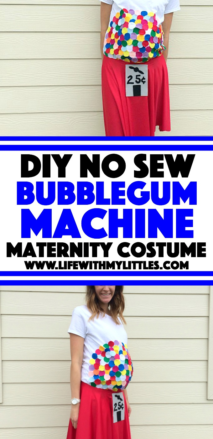 This DIY Bubblegum Machine maternity costume is the perfect Hallloween costume for pregnancy! Such a cute, easy idea and it doesn't involve any sewing! If you're looking for a pregnant Halloween costume, this is the one!