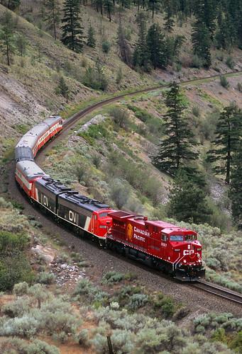 canadianpacific cp canadiannational cn ge ac4400cw newlocomotive 9807 passengertrain inspectiontrain businesstrain thompsonrivercanyon drynoch britishcolumbia canada cpthompsonsubdivision e9 bc