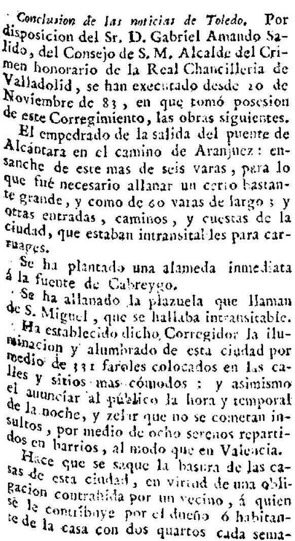 """Descripción de las buenas obras desarrolladas en Toledo por su corregidor Gabriel Amando Salido en """"El Correo de Madrid o de los Ciegos"""" el 10 de noviembre de 1796."""
