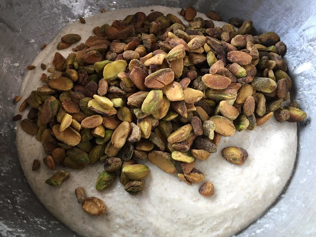 Mixing roasted pistachios