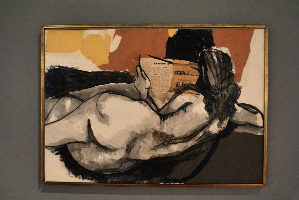 Nue (peinture + collage) au musée GAM à Palerme.