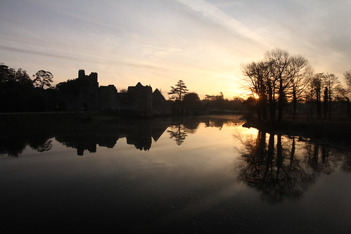 dawn sunrise castle adare desmond limerick ireland water easter sunday dancingsun reflection april spring