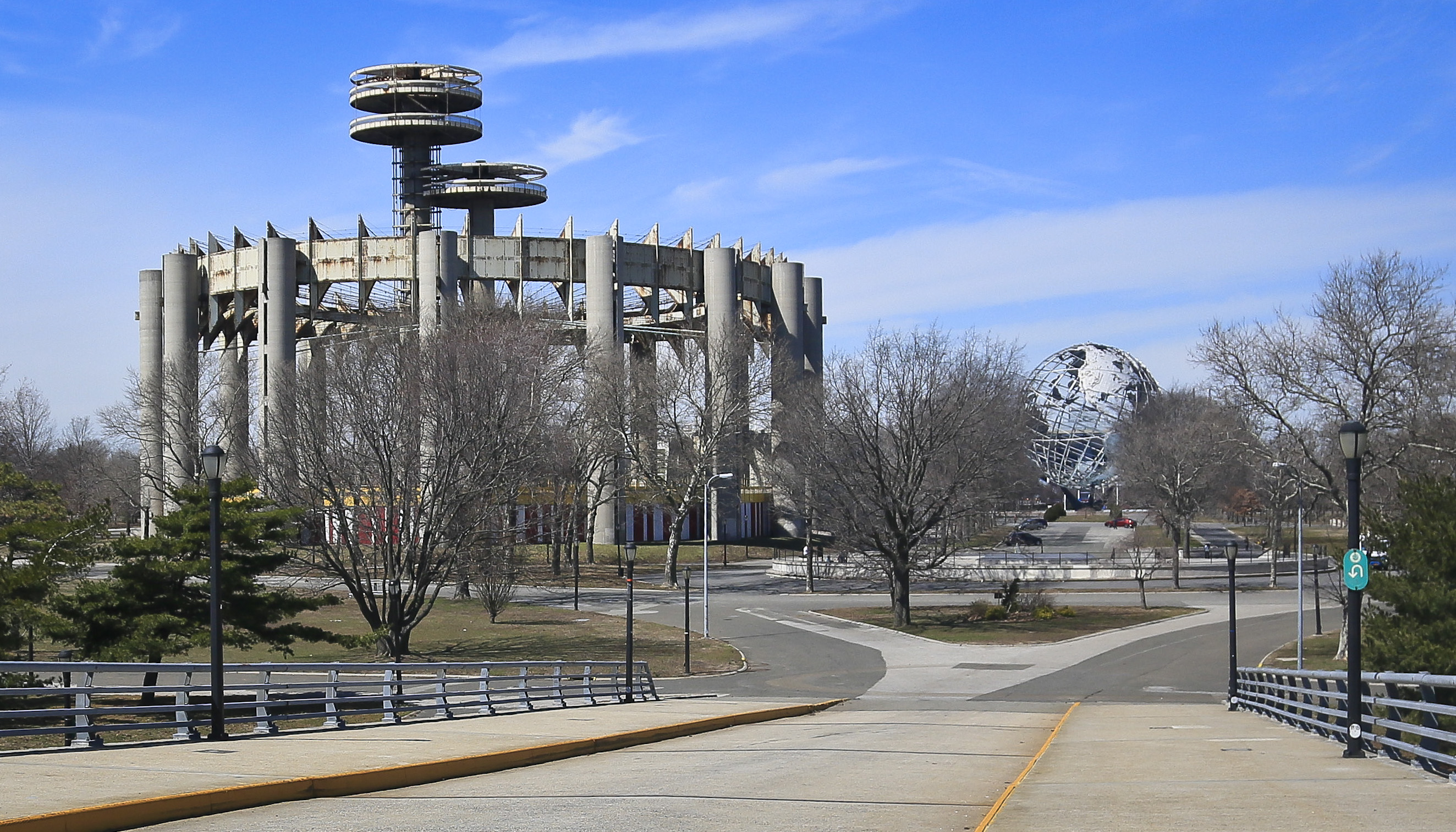The New York Pavilion's Tent of Tomorrow and Observation Towers, as photographed on April 1, 2014.