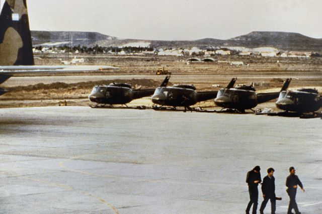 Argentine Huey helicopters at Port Stanley airfield shortly after being flown in by C-130 transport aircraft from Argentina, April 1982.